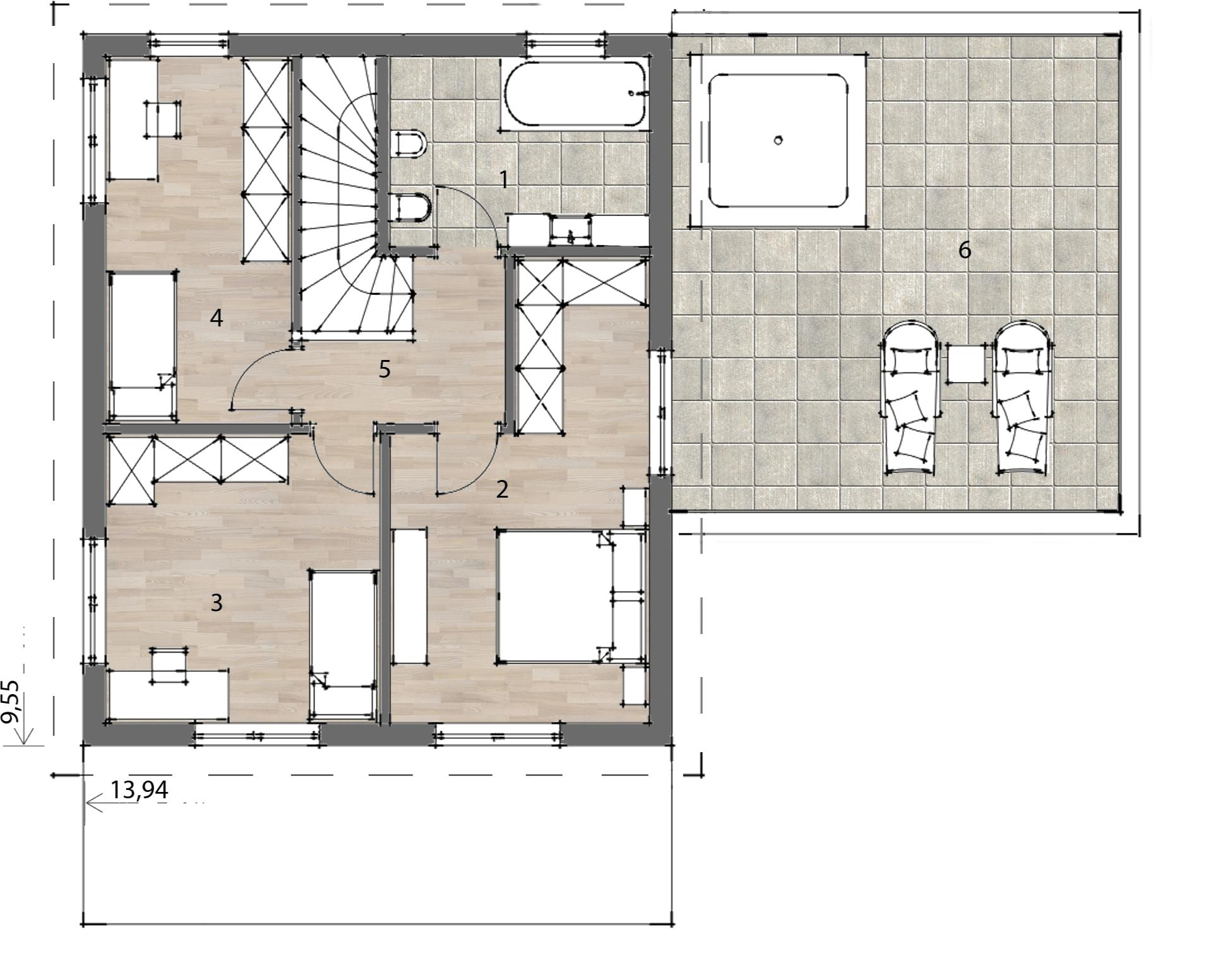 Flex Fertighaus Stockhaus 120 Grundriss OG