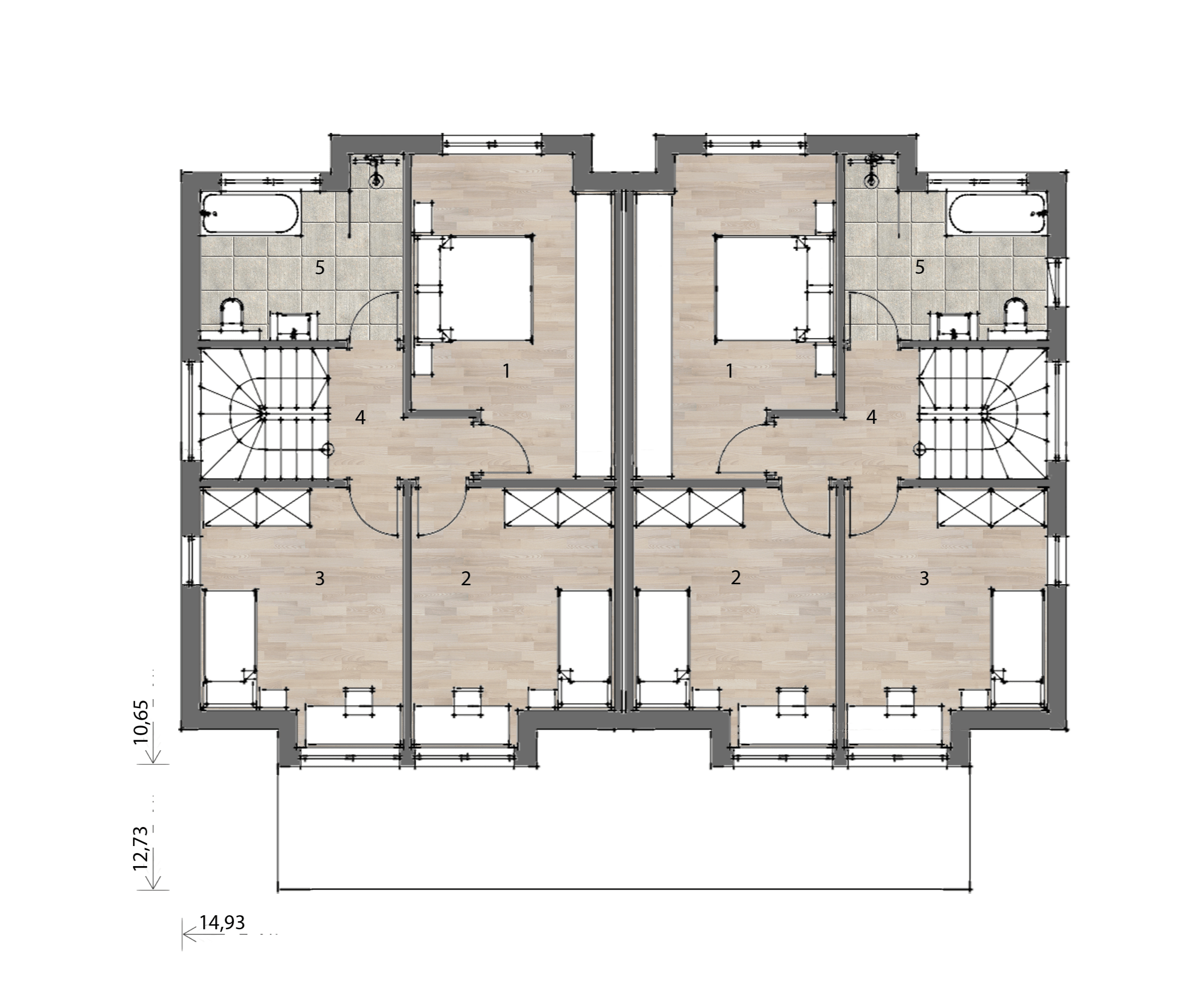Flex Fertighaus Stockhaus 122 DHH Grundriss OG