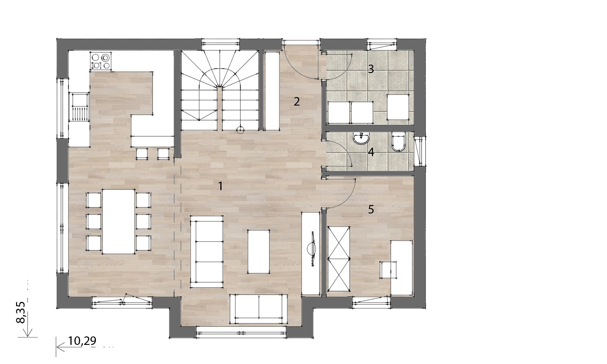 Flex Fertighaus Mansardenhaus 129 Grundriss EG