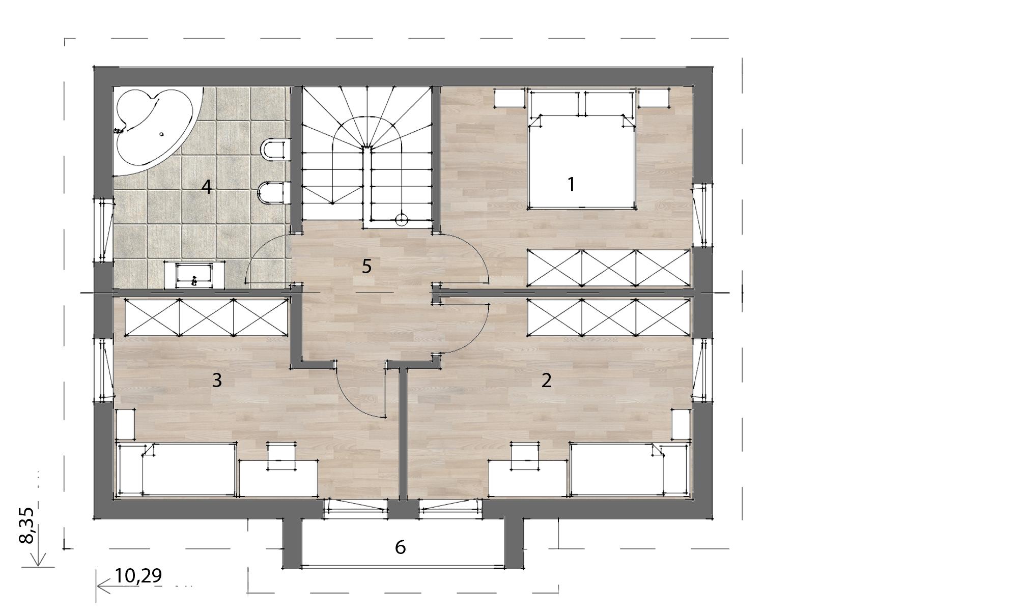Flex Fertighaus Mansardenhaus 129 Grundriss OG