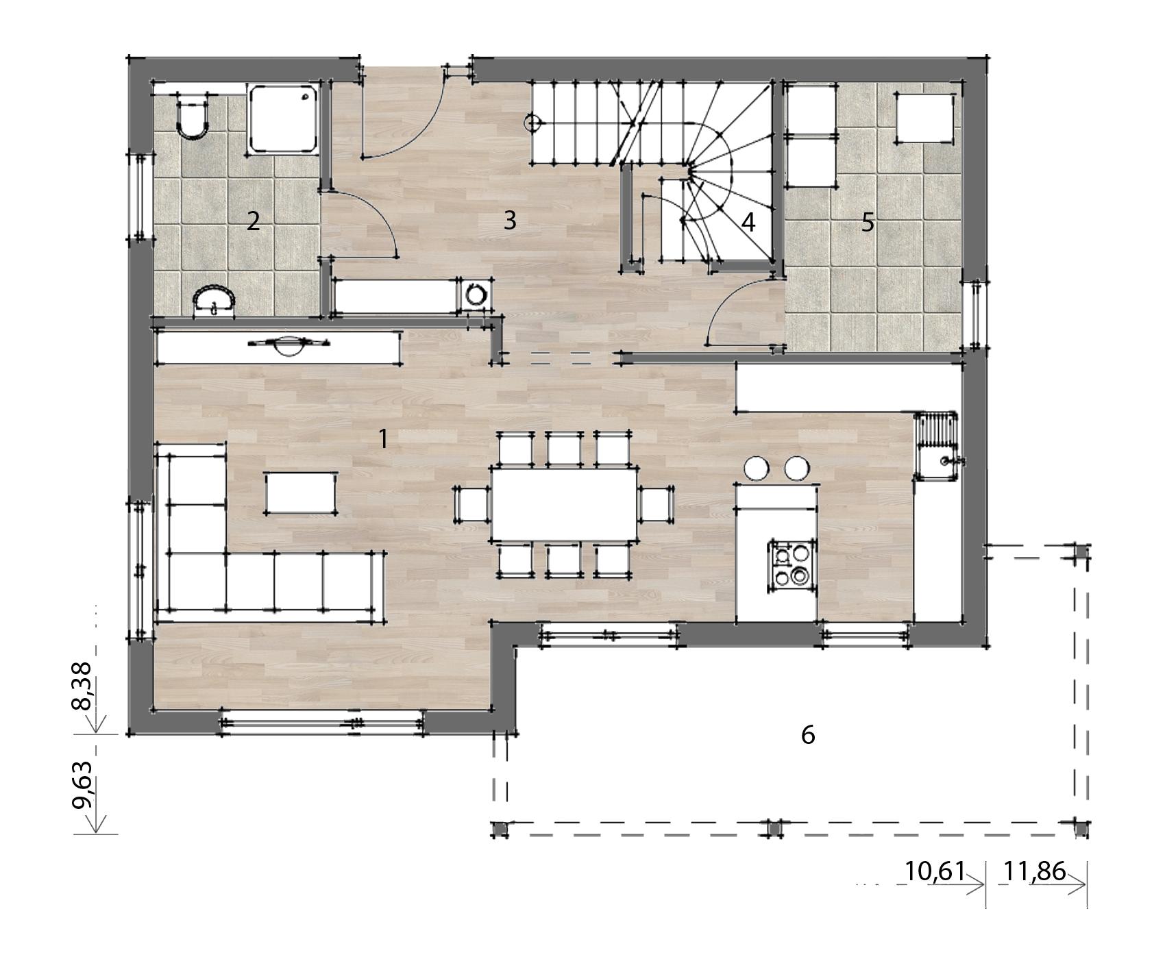 Flex Fertighaus Stockhaus 135 Grundriss EG