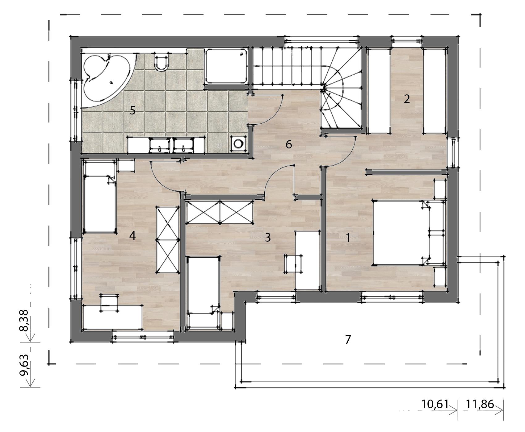 Flex Fertighaus Stockhaus 135 Grundriss OG