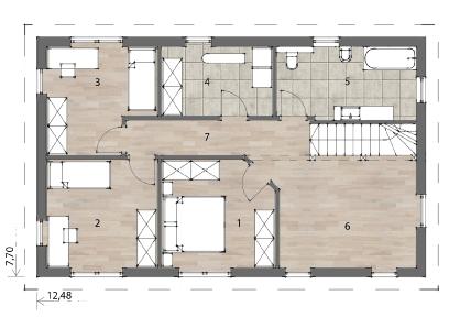 Flex Fertighaus Stockhaus 136 Grundriss OG